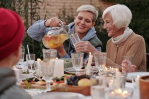 : Young woman socializing with an elderly woman